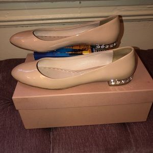 Miu Miu nude patent leather flats size 40